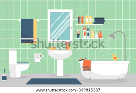 Modern bathroom interior with furniture in flat style. Design modern bathroom, toothpaste and toothbrush, razor and lotion. Vector illustration - stock vector