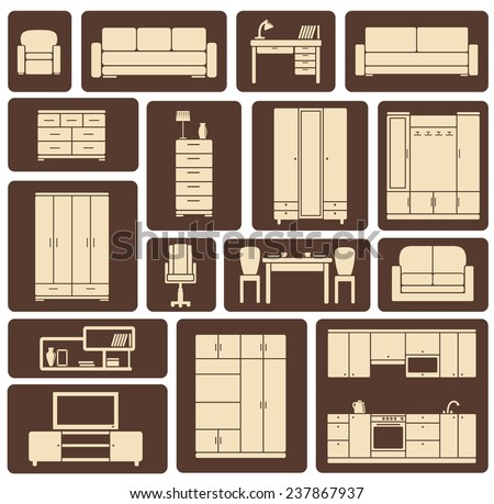 Modern beige furniture and interior items icons including wardrobe, sofa, shelves, tables in flat style for living room, kitchen, dining room and lounge design - stock vector
