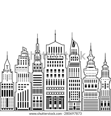 Modern Big City with Buildings and Skyscraper, Architecture Megapolis, City Financial Center on a Light Background ,Black and White Vector Illustration - stock vector