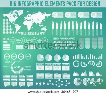 Modern big infographic elements chart set on blurred background. Colorful template for you design, web and mobile applications. Vector illustration concept  - stock vector