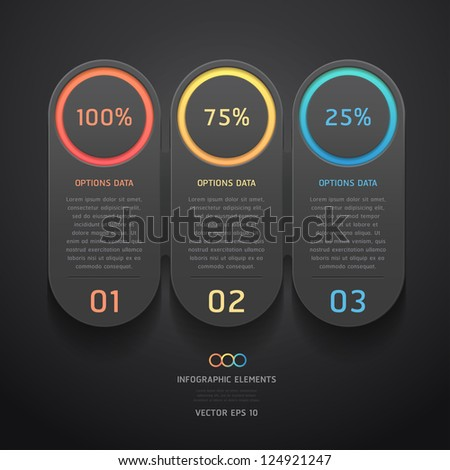 Modern black infographics banner. Vector illustration. can be used for workflow layout, diagram, web design, number options. - stock vector