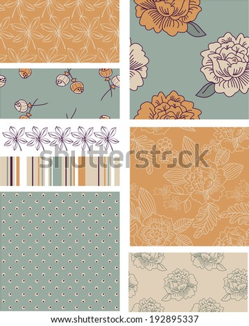 Modern Blossom Floral Vector Seamless Patterns. Use as fills, digital paper, or print off onto fabric to create unique items. - stock vector