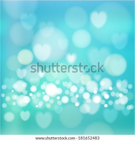 Modern blue abstract background with lights, hearts and bokeh effect, vector illustration  - stock vector