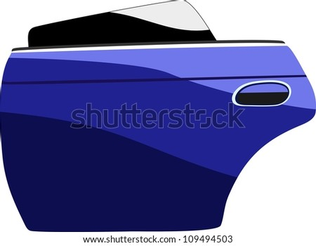 Modern blue car door isolated on white - stock vector