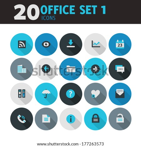 Modern blue flat design office icons, set 1, with long shadow - stock vector