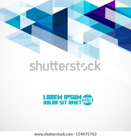 Modern blue geometrical abstract template, Vector illustration  - stock vector