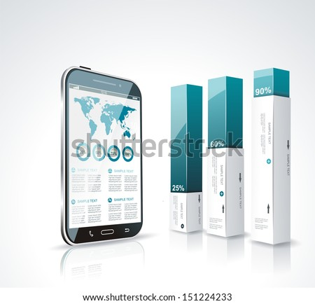 Modern box Design Minimal style infographic template with a touch screen smartphone. - stock vector