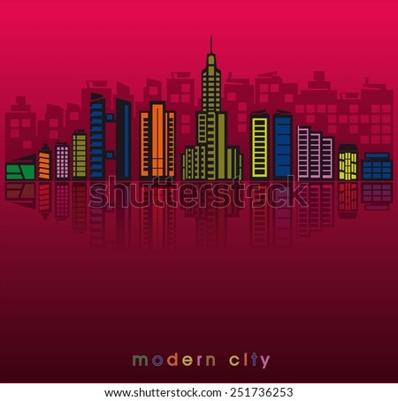 modern buildings and the silhouette of a big city at sunset - stock vector