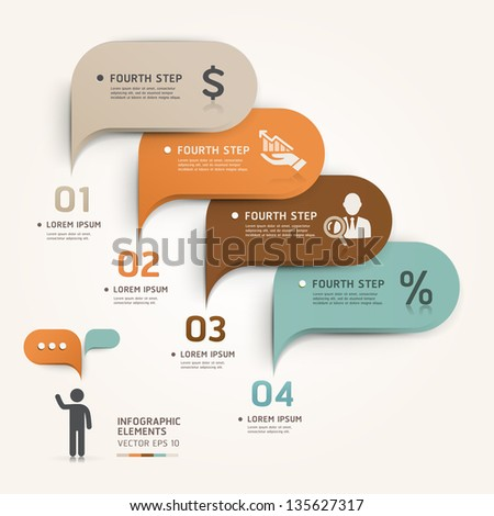 Modern business bubble speech template style. Vector illustration. can be used for workflow layout, diagram, number options, step up options, web design, banner template, infographic - stock vector