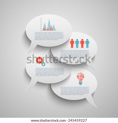 Modern business bubble speech template with business strategy plan concept idea, workflow layout, diagram, step up options, web banner template, Eps10 vector for your design - stock vector