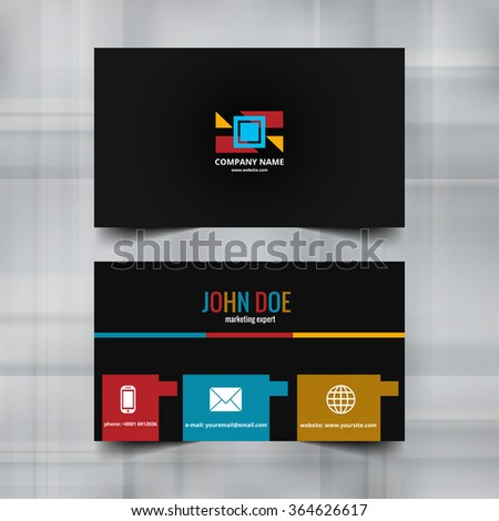 Modern business card colorful vector - stock vector
