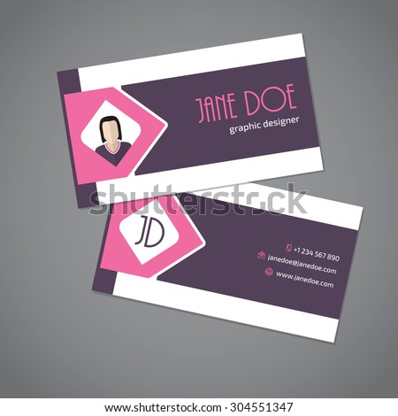 Modern business card design with pink arrow ribbon - stock vector