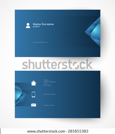 modern business card template with crystals, flat design effect - stock vector