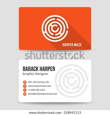 Modern business card vector template with maze logo. Address and phone number, website and email, art symbol illustration - stock vector