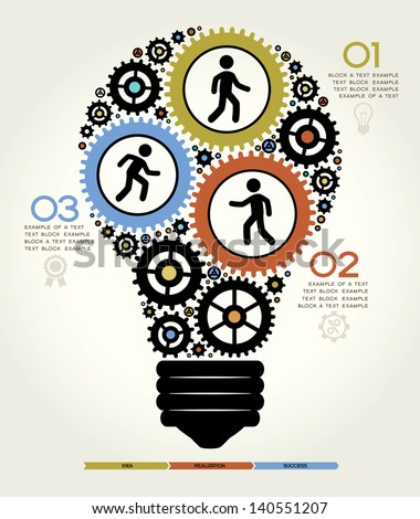 Modern Business Concept , Info Graphic Elements. Idea Lightbulb Solution. - stock vector