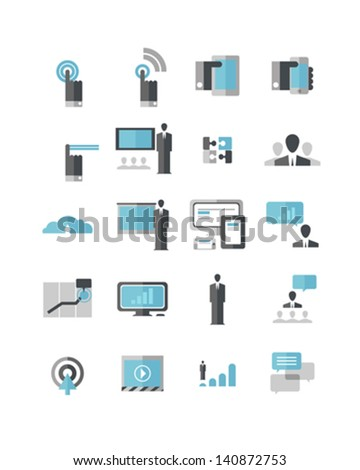 Modern Business Icons A set of icons that include cloud, data, mobile phone, tablet, touch screen gestures, presenting, conversation, employer/employee relationship, and adaptive layout. - stock vector