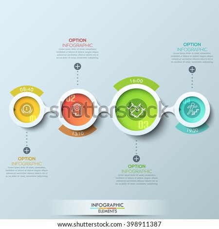 Modern business infographic with connected circles. Vector illustration. Can be used for web design and workflow layout - stock vector