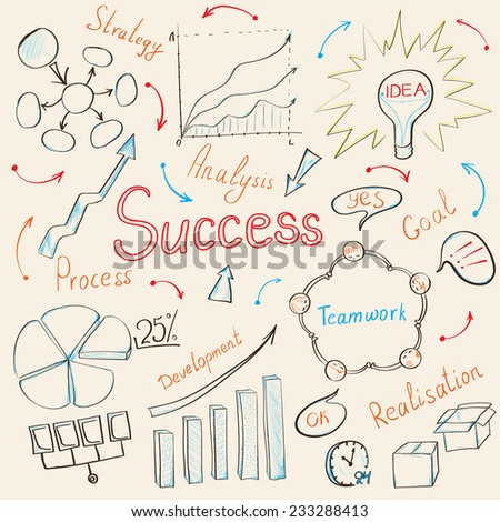 Modern business inspiration concept with hand drawn doodle icons, light bulb idea, diagram and graph. Vector illustration. - stock vector