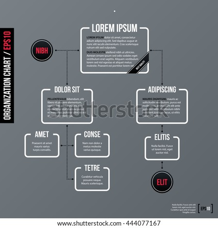 Modern business organization chart template on gray background. Neutral corporate style. - stock vector