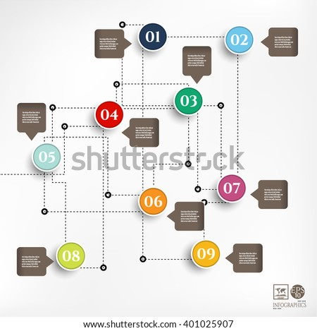 Modern, business poster with colorful, numbered labels, isolated on bright background - stock vector