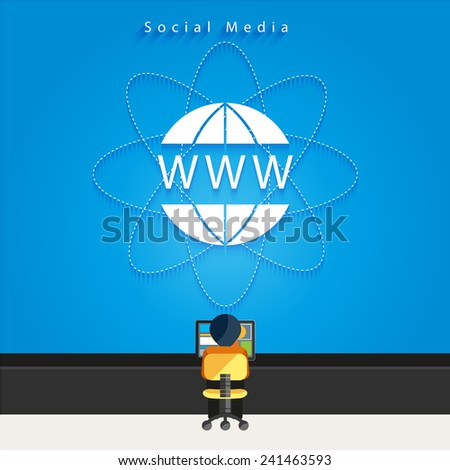 Modern business Social media network connection concepts in flat design. - stock vector
