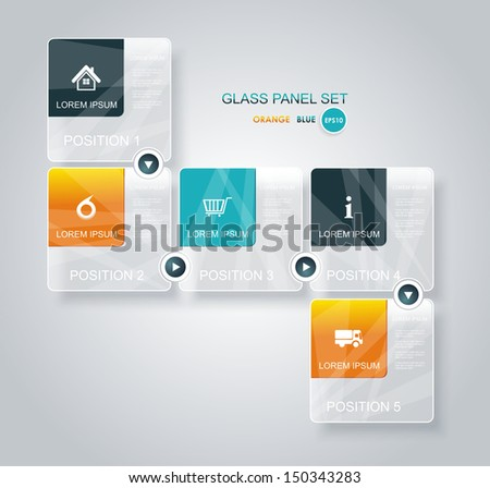 Modern business step glassi style options banner. Can be used for workflow layout, diagram, number options, step up options, web template, infographics.  - stock vector