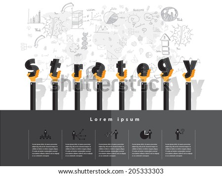 Modern business strategy text with drawing concepts in flat design for web, mobile applications, seo optimizations, business, social networks, e-commerce,planning and teamwork - stock vector