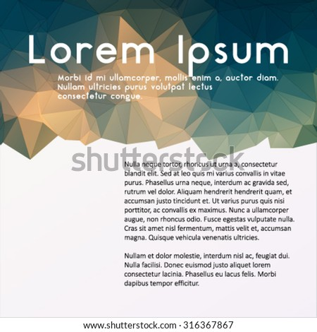 Modern business template.  Polygonal design for abstract background.  Colorful brochure template. Abstract design with triangles for print and  web template,  - stock vector