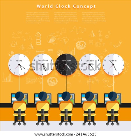 Modern business time Zone World concepts in flat design. - stock vector