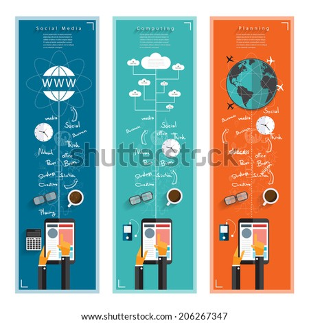 Modern business working idea with drawing concepts in flat design for web, mobile applications, seo optimizations, business, social networks, e-commerce,planning and  - stock vector