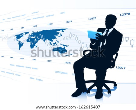 Modern businessman with tablet PC (EPS10 vector) - stock vector
