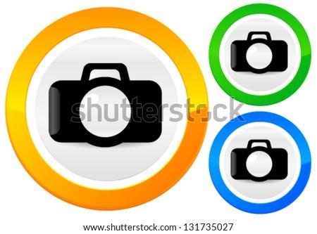 Modern Camera Icon - stock vector