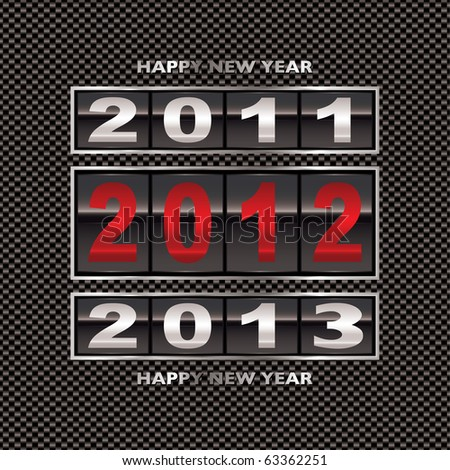 Modern carbon fiber background with 2012 new year counter - stock vector