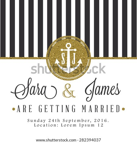 Modern card, for invitation or announcement with golden details. Dark grey stripes - stock vector