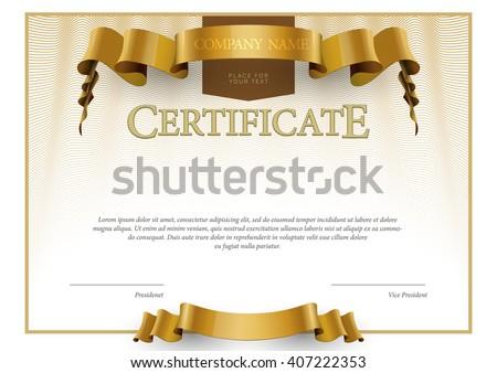 Modern Certificate. horizontal Template diplomas currency. Vector - stock vector