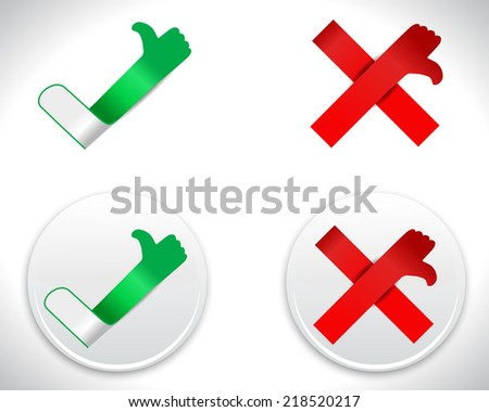 Modern Check Mark Icons, tick and cross with thumbs up and down - vector eps10 - stock vector