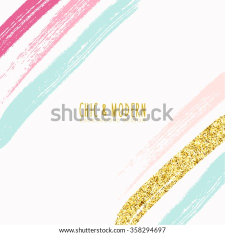 Modern Chic Colourful Brush Vector Design - stock vector