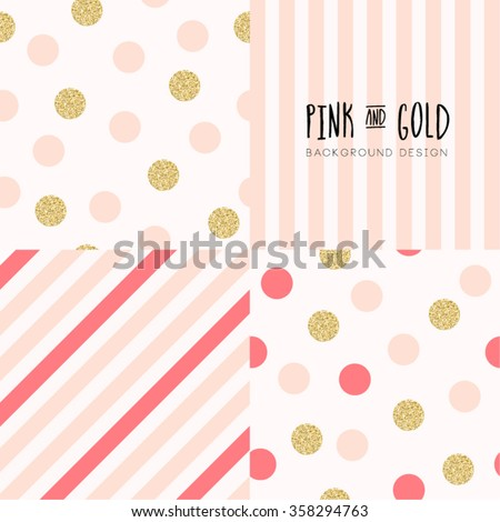Modern Chic Polka Dot and Stripe Background Set Vector Design - stock vector