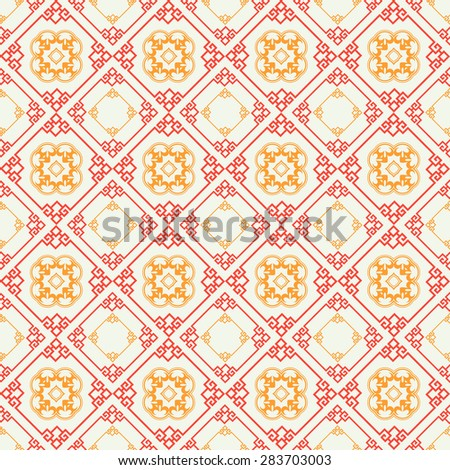 Modern chinese stylish seamless texture geometric tiles wallpaper pattern background in retro style for your design vector illustration - stock vector