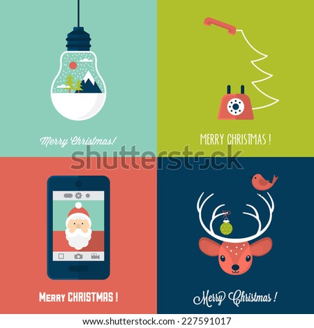 Modern Christmas card flat  stylish design. Set of Christmas cards with Santa, deer, light bulb and telephone - stock vector
