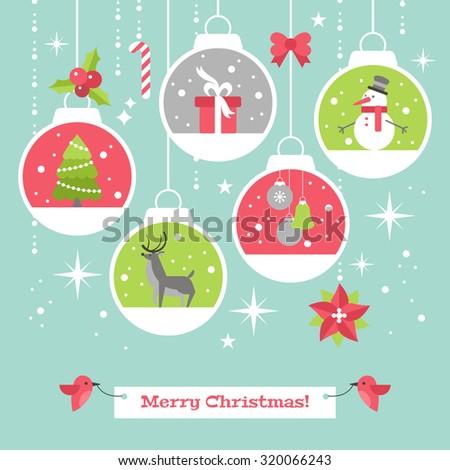 Modern Christmas card flat stylish design with decoration balls. Vector illustration - stock vector