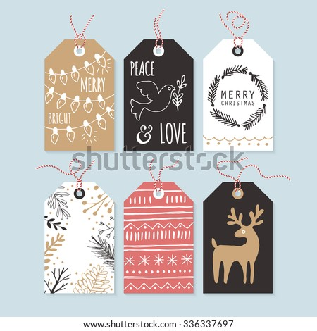 Modern Christmas gift tags with hand drawing elements. Vector illustration - stock vector