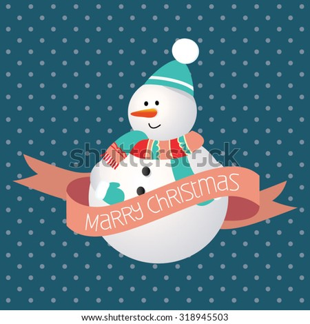 Modern Christmas greeting card. Cute snowman on blue background - stock vector