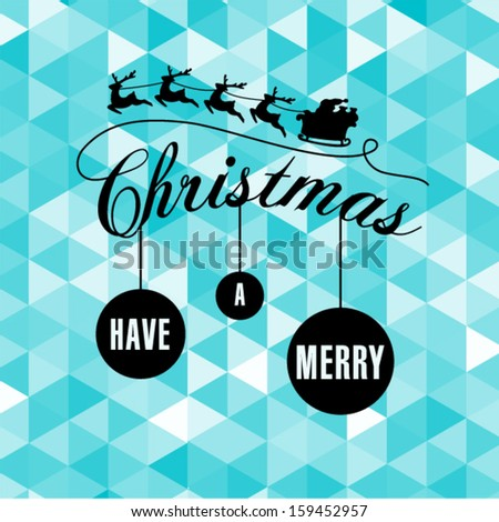 Modern  Christmas greetings with triangle pattern background - stock vector