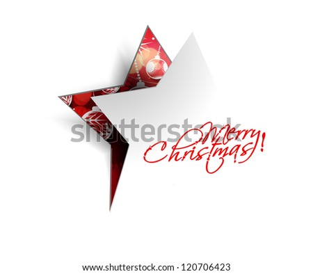 Modern christmas star peel off design, eps10 vector illustration - stock vector