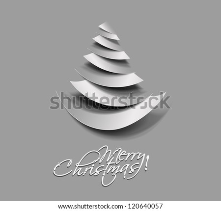 Modern christmas tree curl paper illustration design, - stock vector