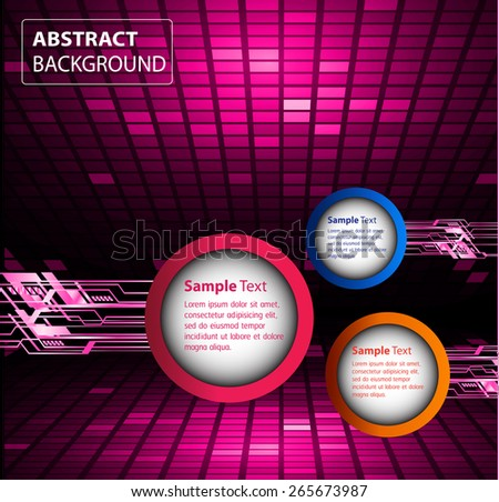 modern circle text box template for website computer graphic and internet, pink background. Brochure. Mosaic. table, pixels - stock vector