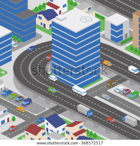 modern city and various vehicles, building and overhead roads, vector illustration - stock vector
