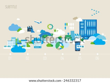 Modern City Background Illustration, Vector Info Graphic, Eps 10, City and Buildings, layout Template - stock vector