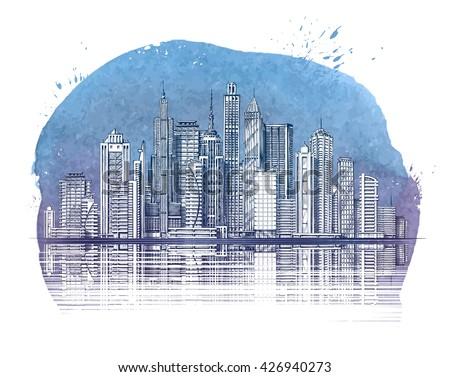 Modern City. Buildings and Skyscraper. Urban landscape banner. Vector illustration - stock vector